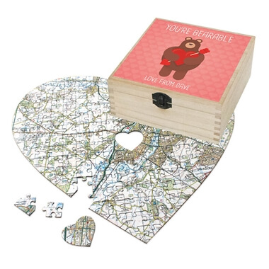 Personalised Heart Shaped Postcode Jigsaw - You're Bearable