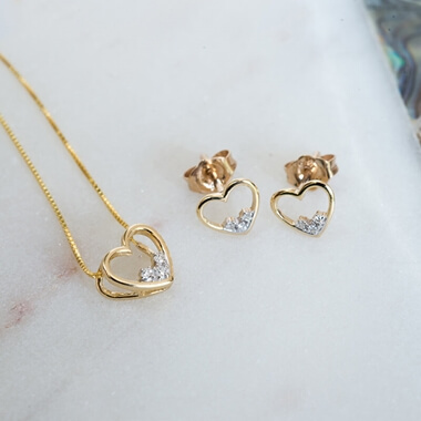 Personalised Gold Diamond Heart Necklace & Earring Set