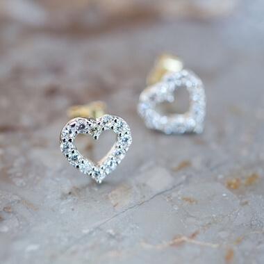 Personalised Heart Cubic Zirconia Stud Earrings