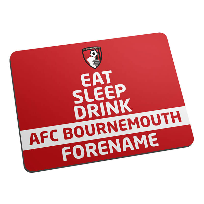 Personalised AFC Bournemouth Eat Sleep Drink Mouse Mat