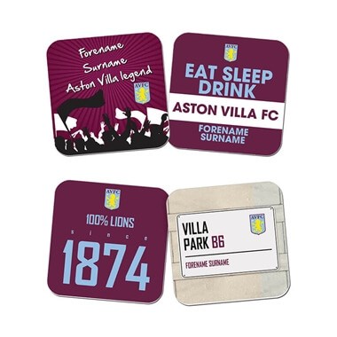 Personalised Aston Villa FC Coasters