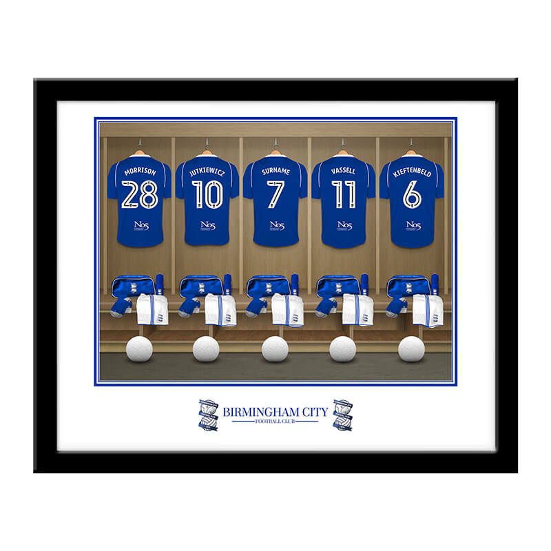 Personalised Birmingham City FC Dressing Room Framed Print