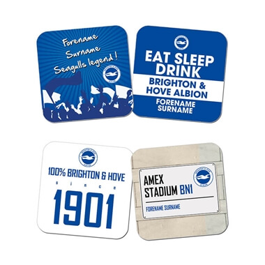 Personalised Brighton & Hove Albion FC Coasters