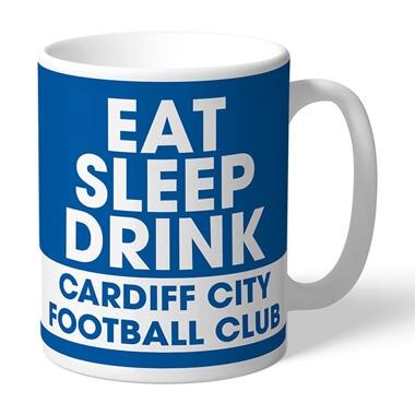 Personalised Cardiff City FC Eat Sleep Drink Mug