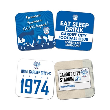 Personalised Cardiff City FC Coasters