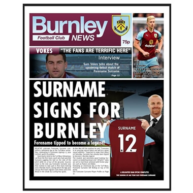 Personalised Burnley FC News Framed Print