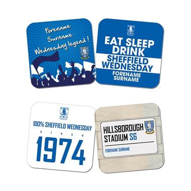 Personalised Sheffield Wednesday FC Coasters