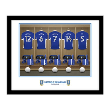 Personalised Sheffield Wednesday FC Dressing Room Framed Print