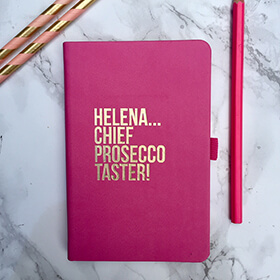 Personalised Chief Prosecco Taster Leather Notebook