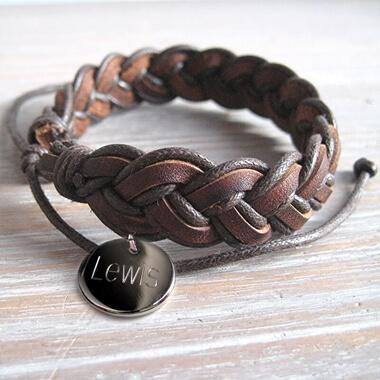 Personalised Plaited Leather Bracelet