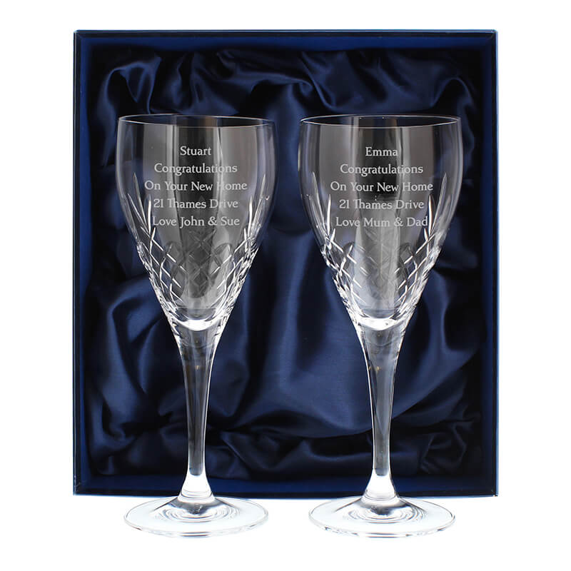 Pair Of Cut Crystal Wine Glasses Personalised Buy From Prezzybox Com