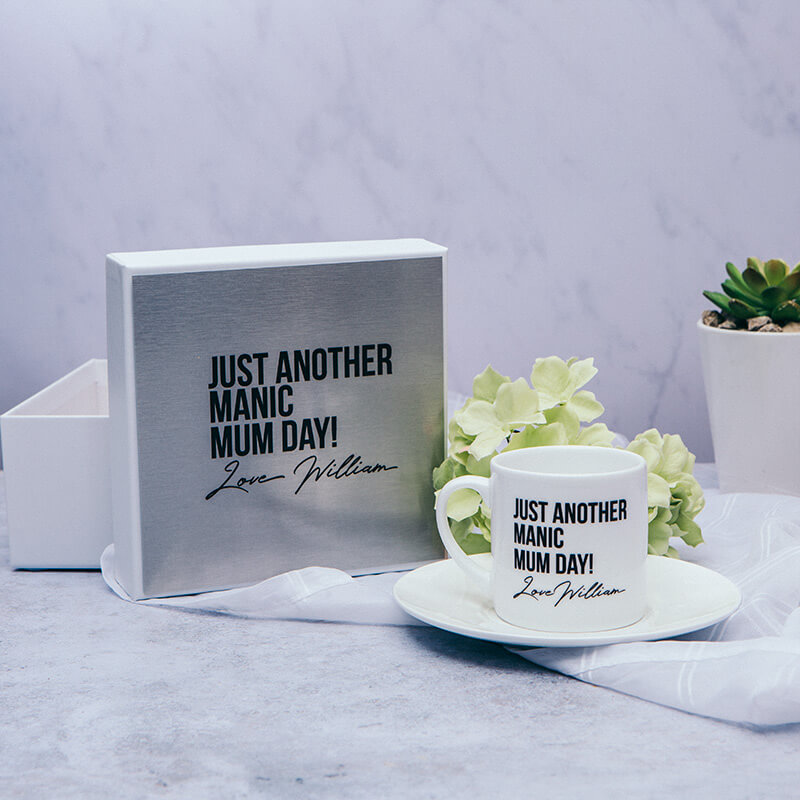 Personalised Manic Mum Cup & Saucer With Gift Box
