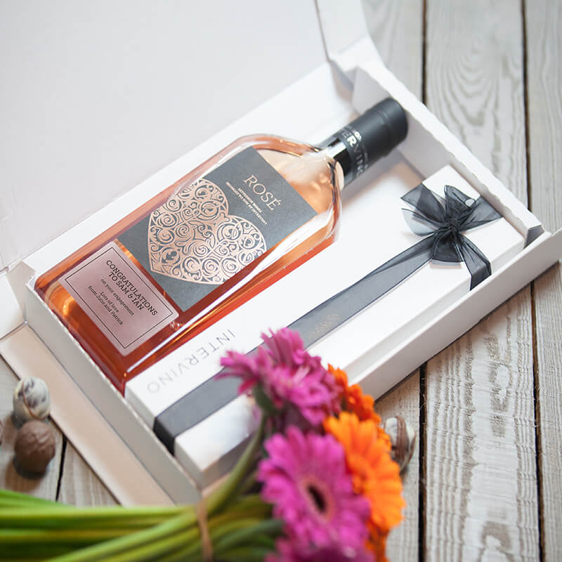 Personalised Letterbox Wine & Chocolates - Rose