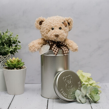 Love gifts and romantic gifts ideas for him and her from prezzybox personalised teddy bear in a gift tin negle Images