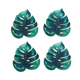 Set of 4 Botanical Jungle Leaf Coasters