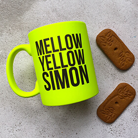 Personalised Mellow Yellow Neon Mug