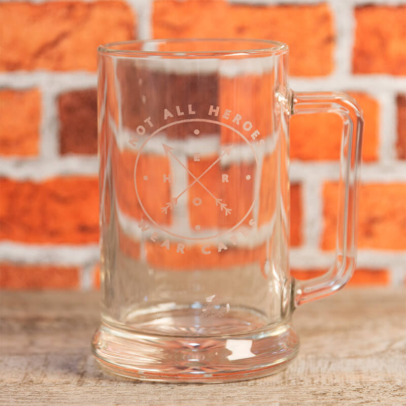 Glass Tankard - Not all Heroes Wear Capes