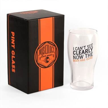 Musicology Beer Pint Glass -  I Can't See Clearly Now