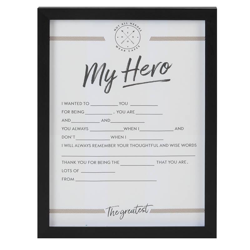 Personalise 'My Hero' Framed Print