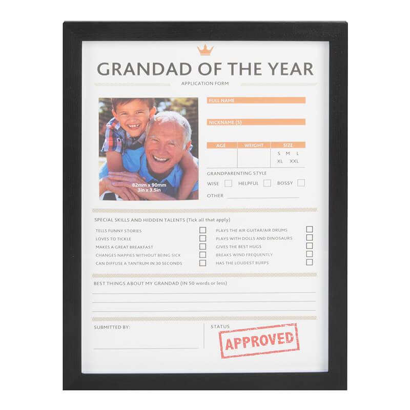 Personalise Grandad of the Year Frame