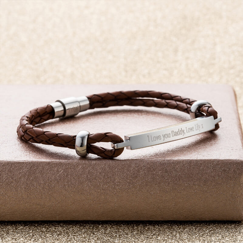 f8b87354fd82d Personalised Men's Braided Leather Cord Bracelet