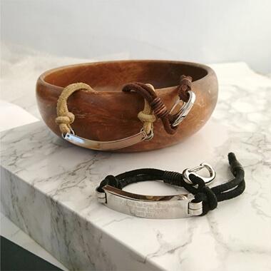Personalised Men's Leather Cord Bracelet