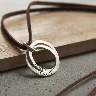 Personalised Men's Silver Interlinking Hoops Necklace