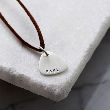 Personalised Men's Silver Plectrum Necklace