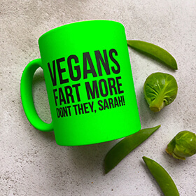 Personalised Vegan's Fart More Neon Mug