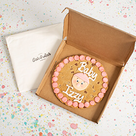Personalised New Baby Girl Giant Chocolate Chip Cookie