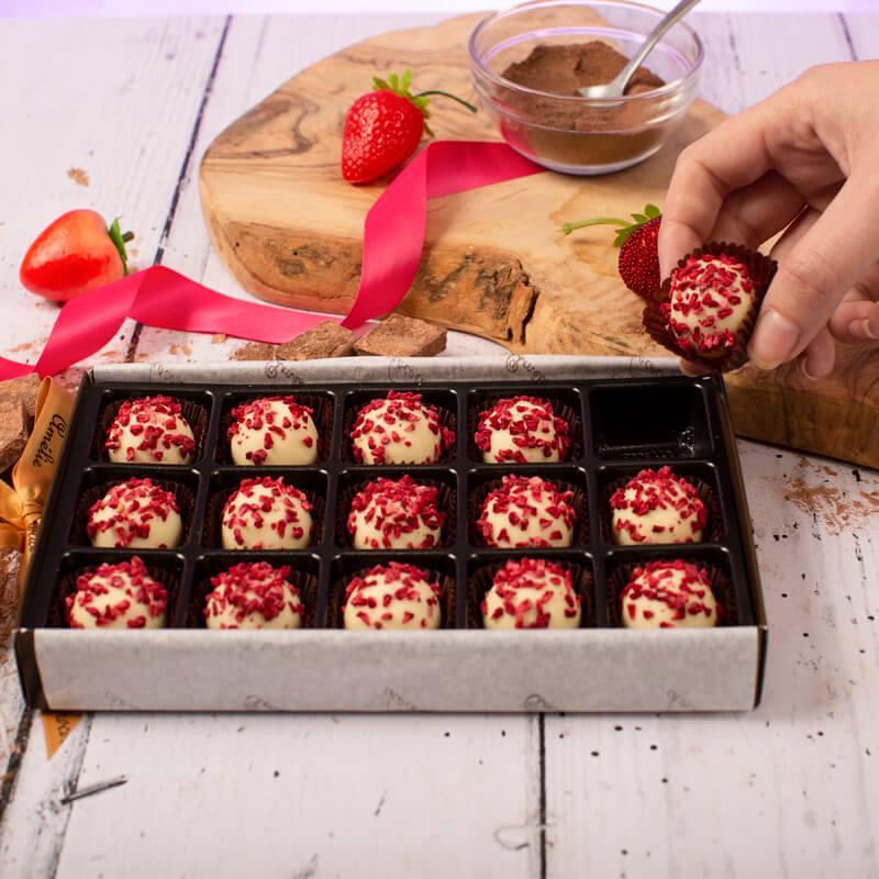 Raspberry Champagne Truffles by Amelie Chocolat