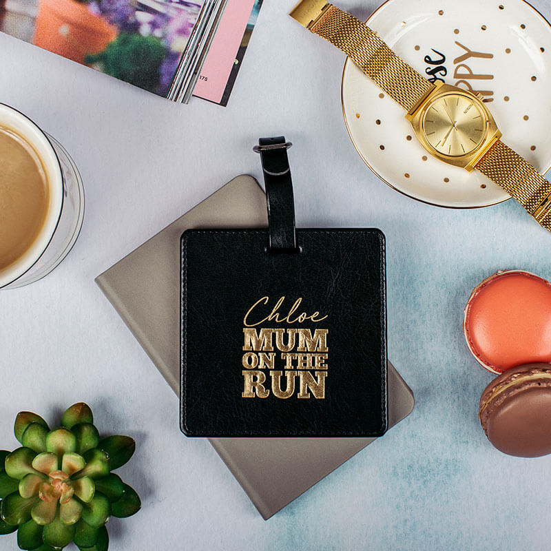 Personalised Mum On The Run Leather Luggage Tag