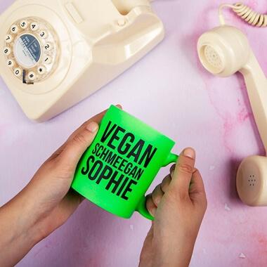 Personalised Vegan Schmeegan Neon Mug