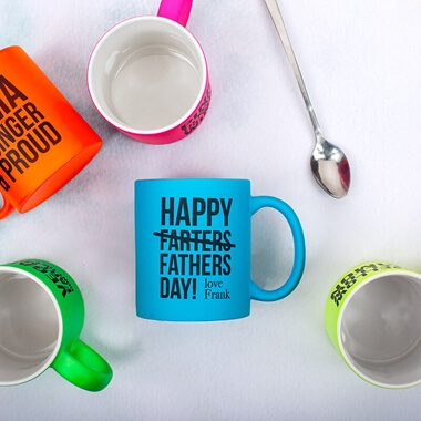 Personalised Happy Farters Day Neon Blue Mug
