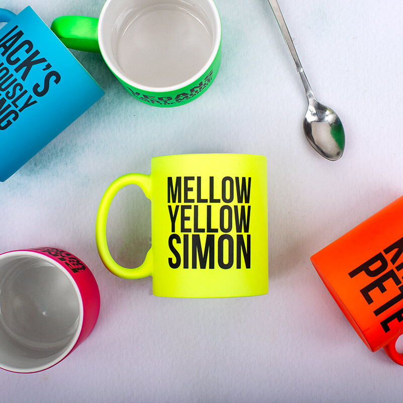 Personalised Mellow Yellow Neon Mug