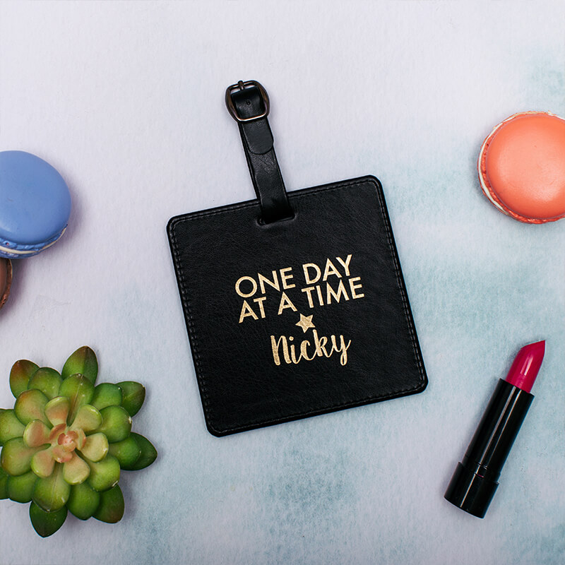 Personalised One Day At A Time Leather Luggage Tag