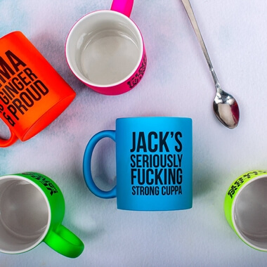 Personalised Seriously Strong Cuppa Neon Mug