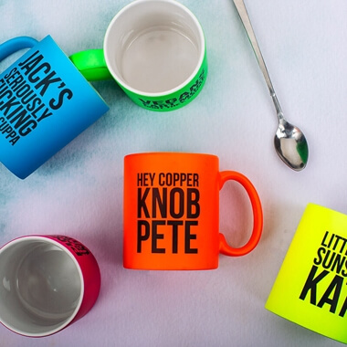 Personalised Copper K**B Neon Orange Mug