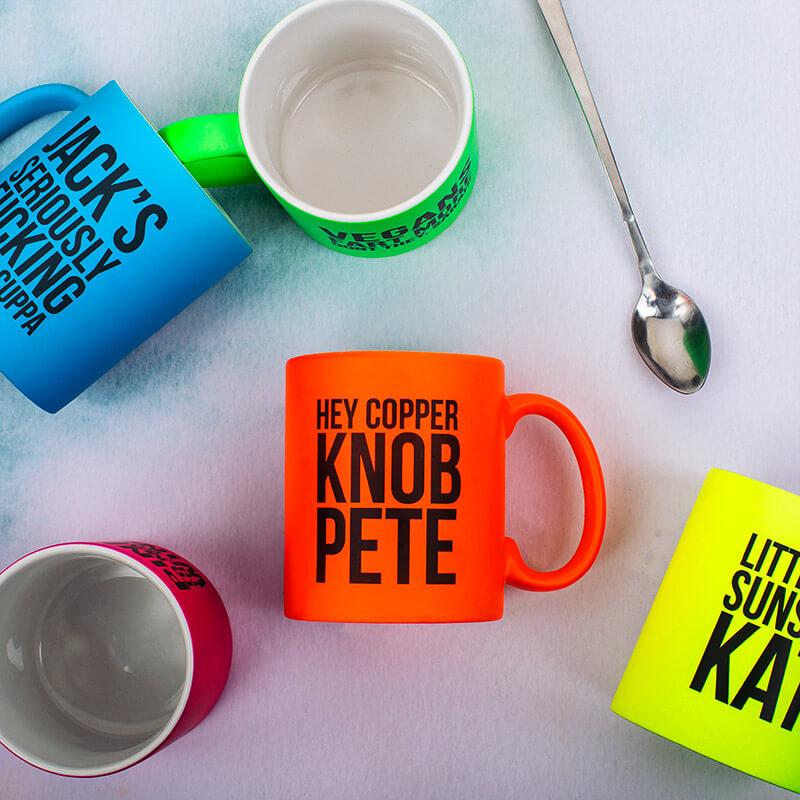 Personalised Copper K**B Neon Orange Mug