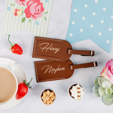 Personalised Set of Two Leather Luggage Tags