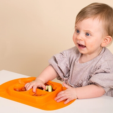 EasyMat Portable Baby Suction Plate - Orange