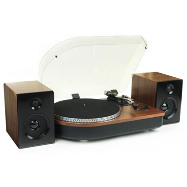 Camden - Teak Record Player And Speakers