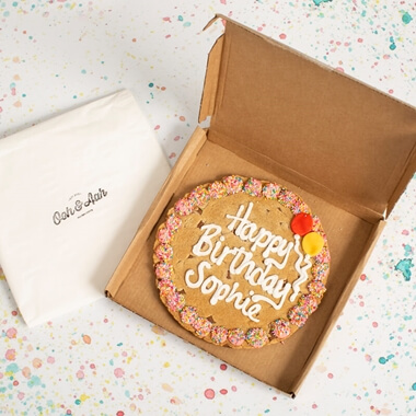 Personalised Happy Birthday Chocolate Chip Cookie - Pink