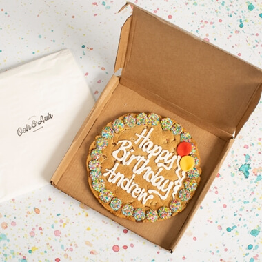 Personalised Happy Birthday Chocolate Chip Cookie - Blue