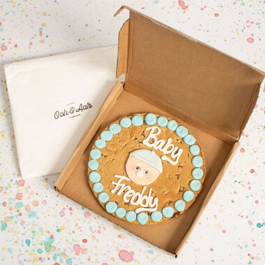 Personalised New Baby Boy Giant Chocolate Chip Cookie