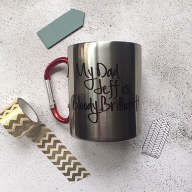 Personalised My Dad Is Brilliant Carabiner Mug