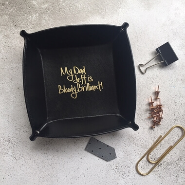 Personalised My Dad Is Brilliant Leather Desk Tidy