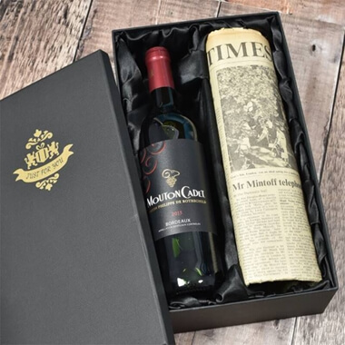 Vintage Bordeaux Red Wine and Newspaper in a Silk Lined Gift Box