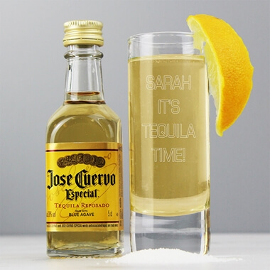 Personalised Tequila & Shot Glass Set
