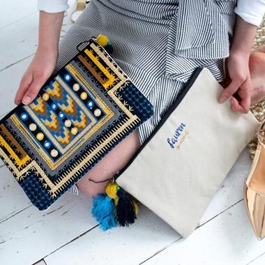 Personalised Embroidered Summer Tassel Bag